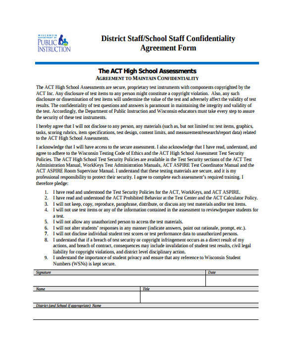 school staff agreement