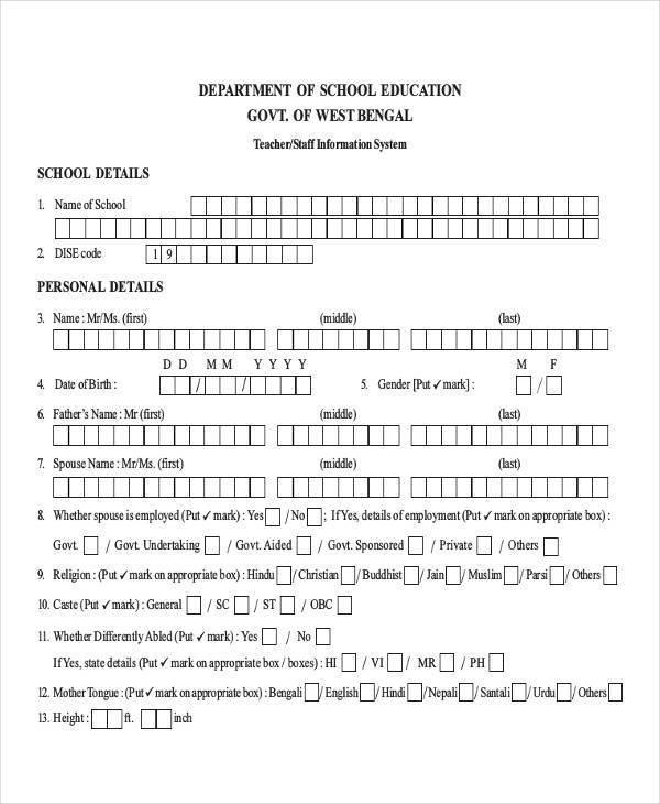 school staff information sheet