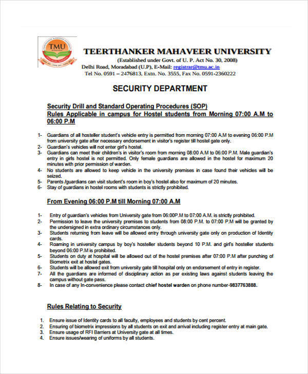security department sop