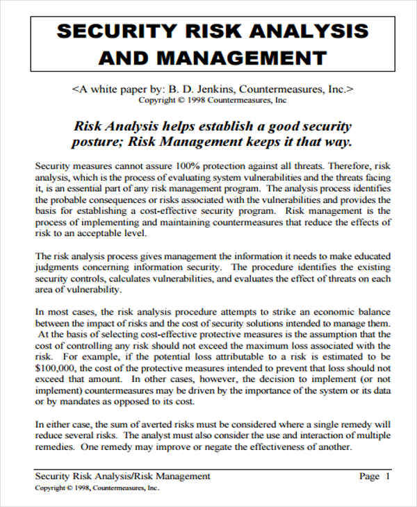 security management analysis