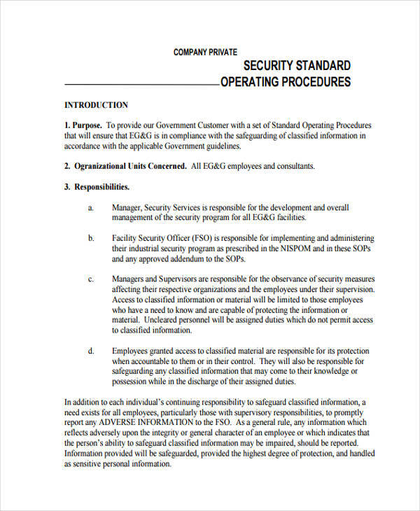 44 sop formats sample templates for Information security standards template