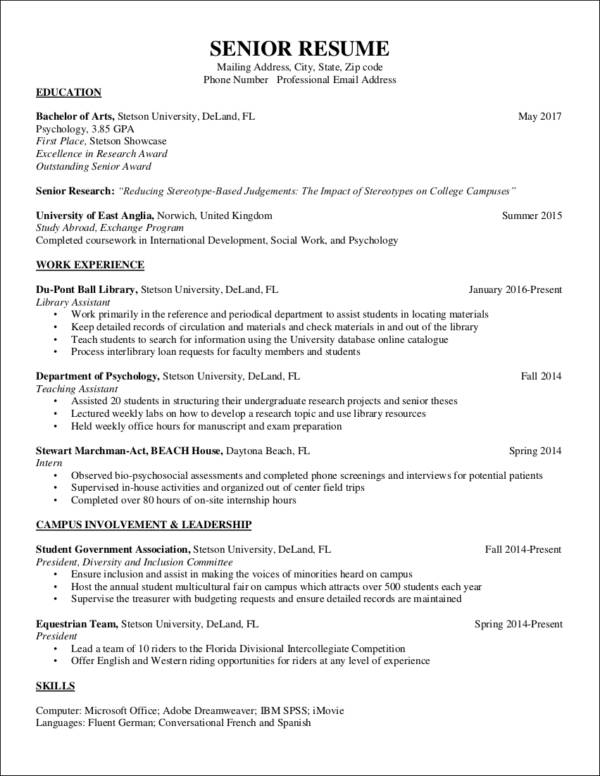 senior resume sample