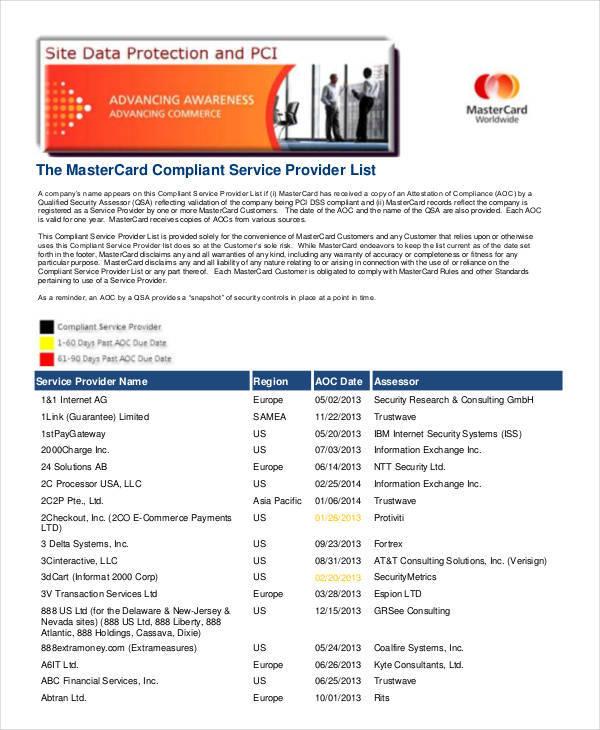 service provider list