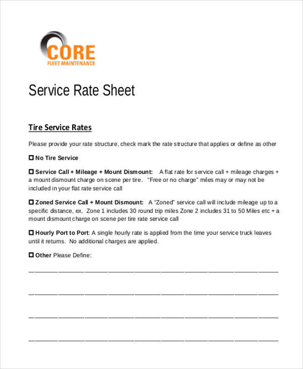 Sample Rate Sheet