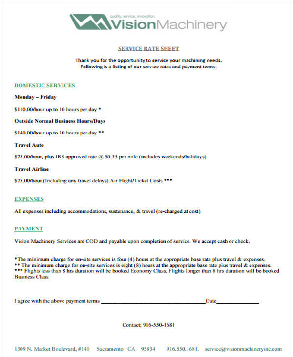 service rate sheet