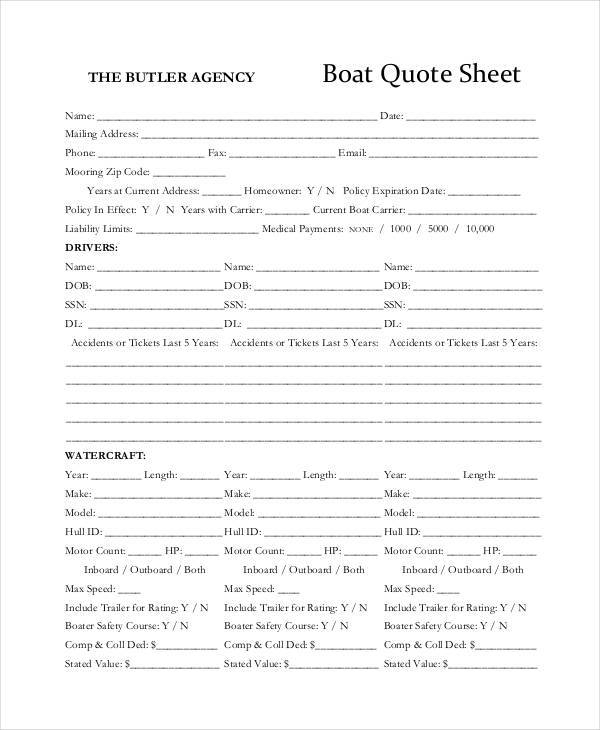 sheet for boat quote