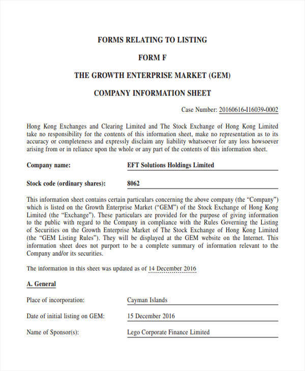 sheet for company information