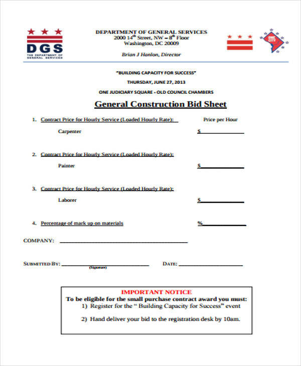 sheet for construction bid