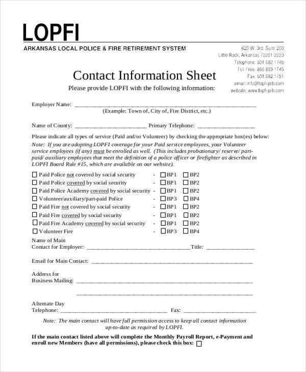 sheet for contact information
