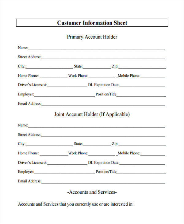 sheet for customer information