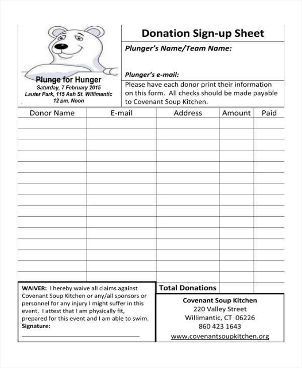 sheet for donation sign up