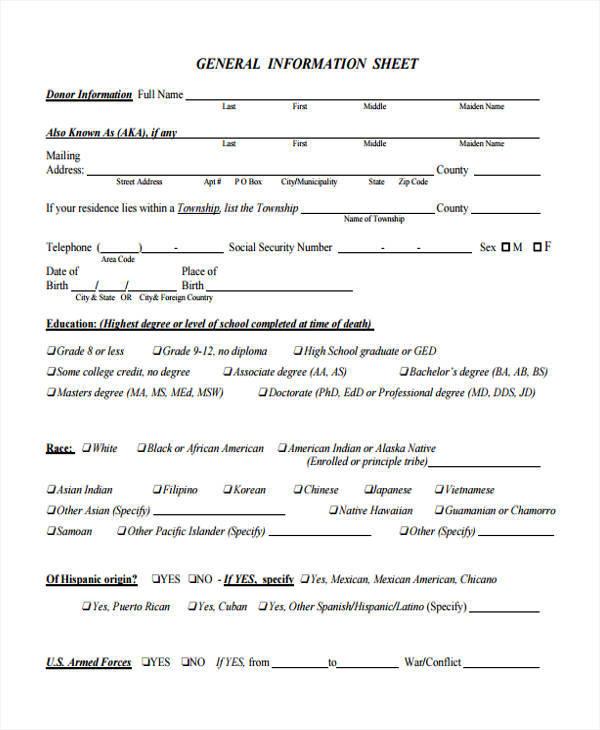 sheet for general information