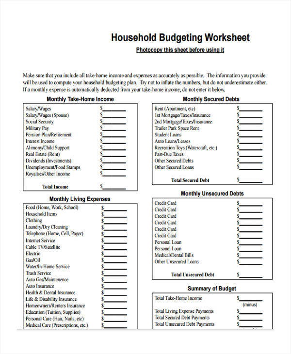 sheet for household budget