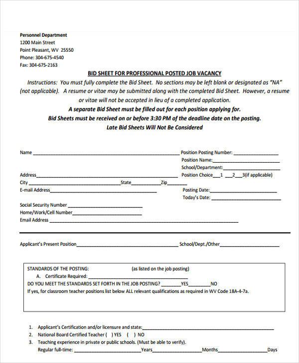 sheet for job bid