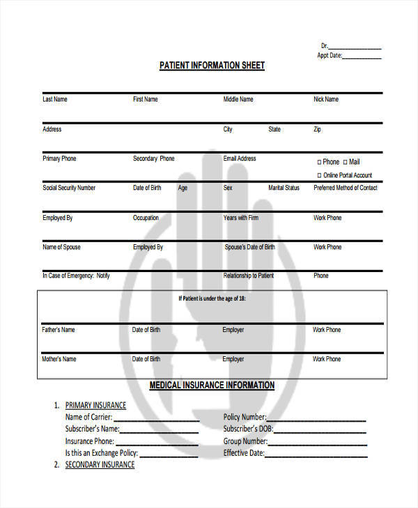 sheet for medical patient information