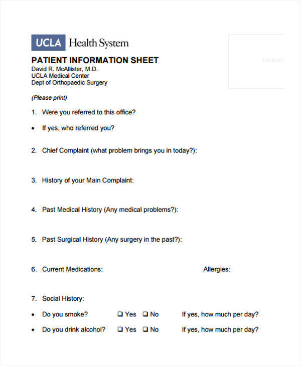 sheet for patient information
