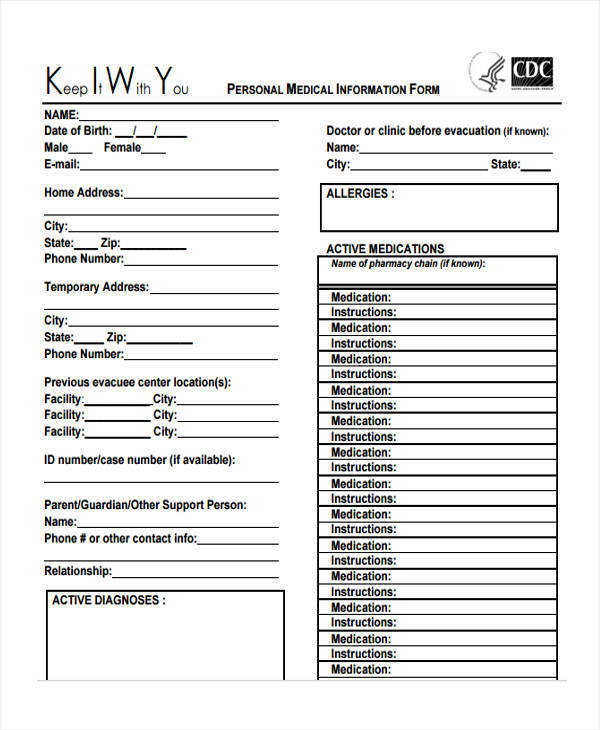 sheet for personal medical information