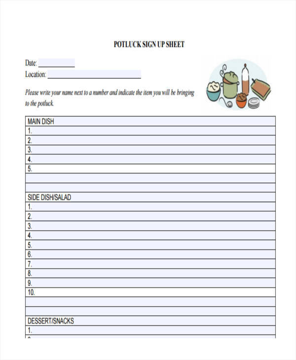 sheet for potluck sign up