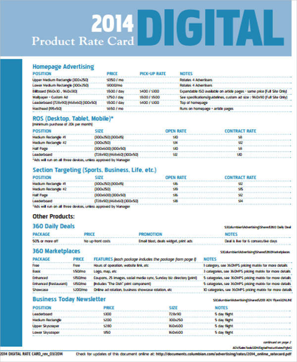 sheet for product rate