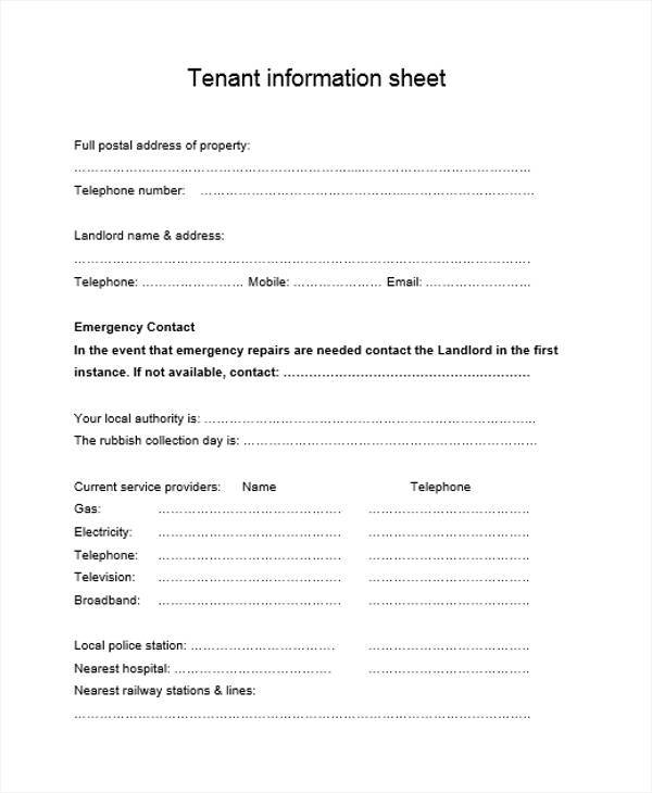 sheet for residential tenant information