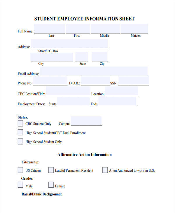 sheet for student employee information