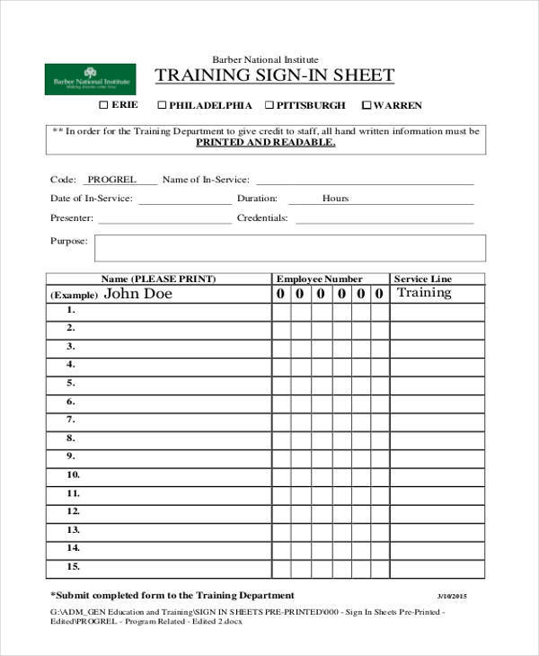 sheet for training sign in1