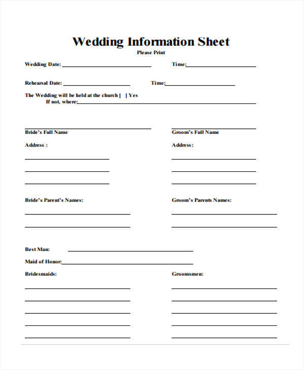 sheet for wedding information