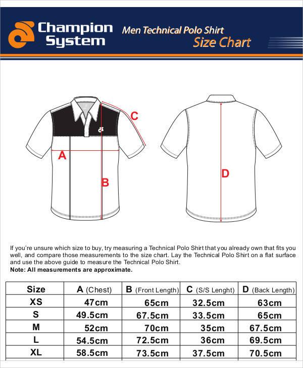 shirt size chart template