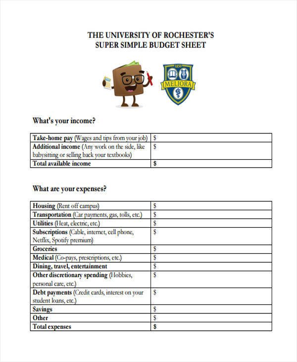 simple budget sheet1