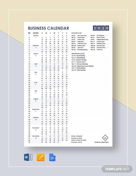 simple business calendar template