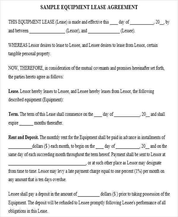 Sample Of Equipment Lease Agreement  BesikEightyCo