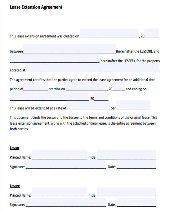38 Lease Agreement Forms – Lease Extension Agreement