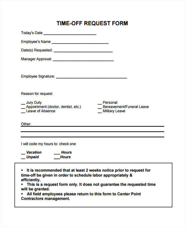 simple time off request form template1