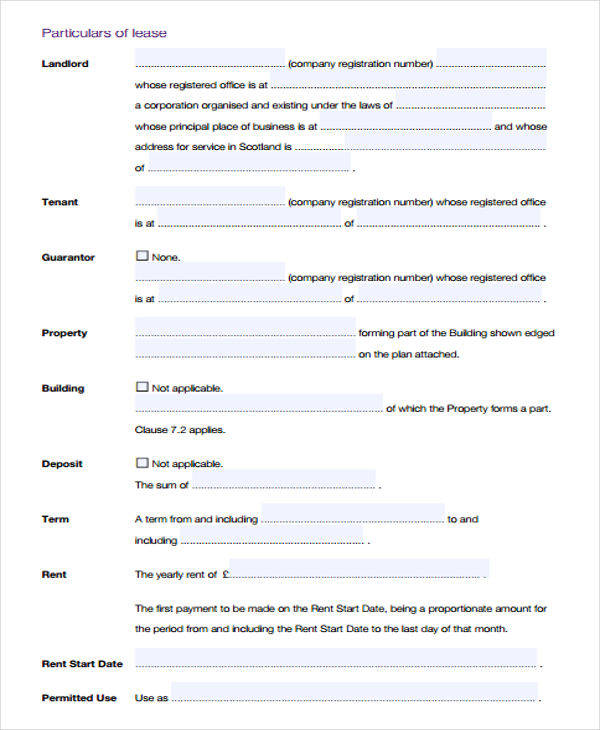 small business lease agreement