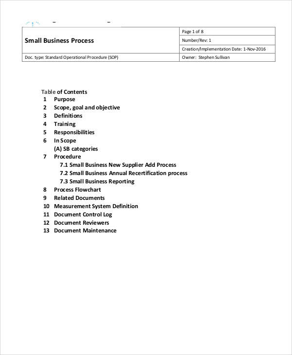 Exceptional Small Business SOP