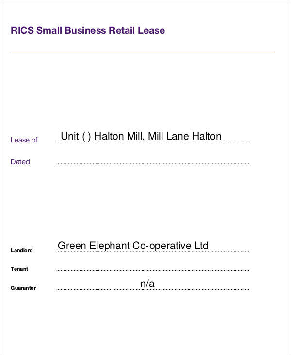 small lease agreement for business