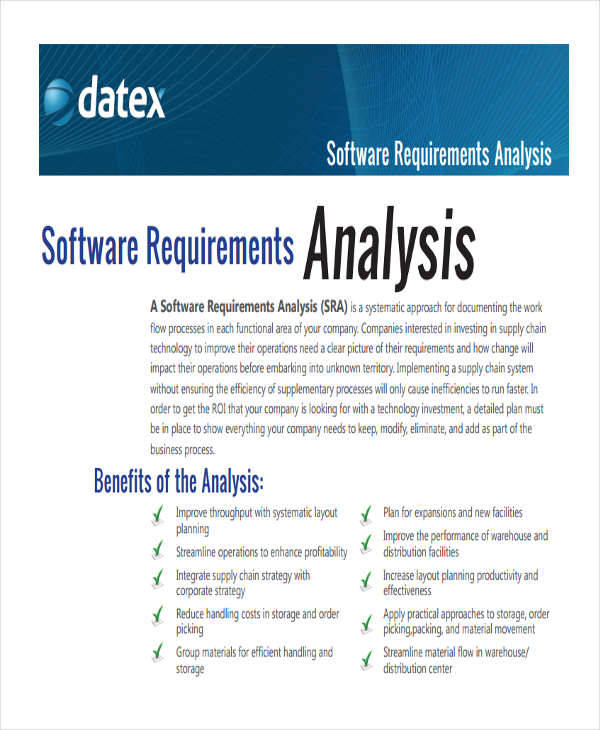 10 requirement analysis free sample example format for Software requirement analysis document template