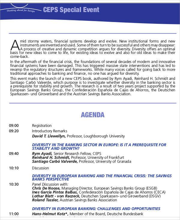 special event agenda