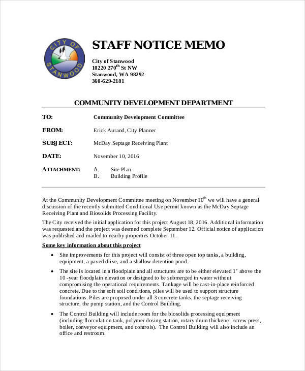 9 notice memo free sample example format download