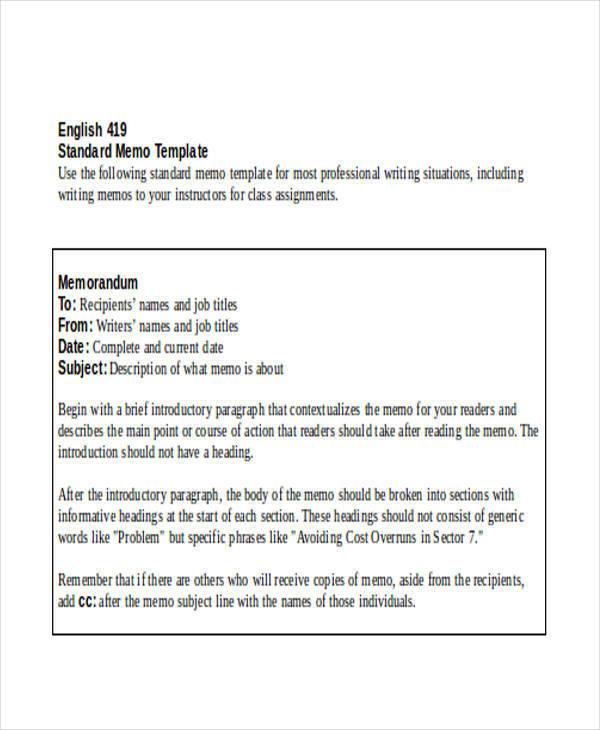 8 Formal Memo - Free Sample, Example, Format Download