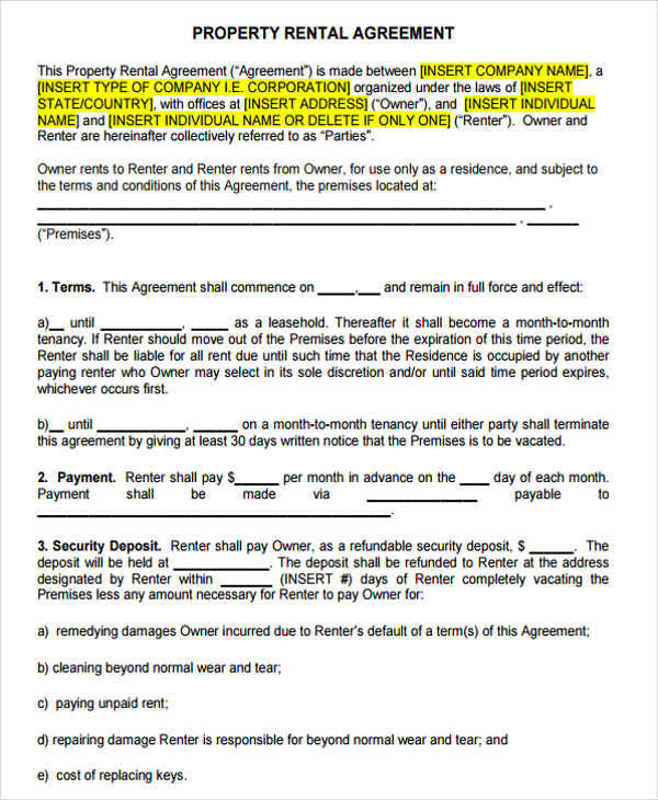 standard lease agreement for hotel