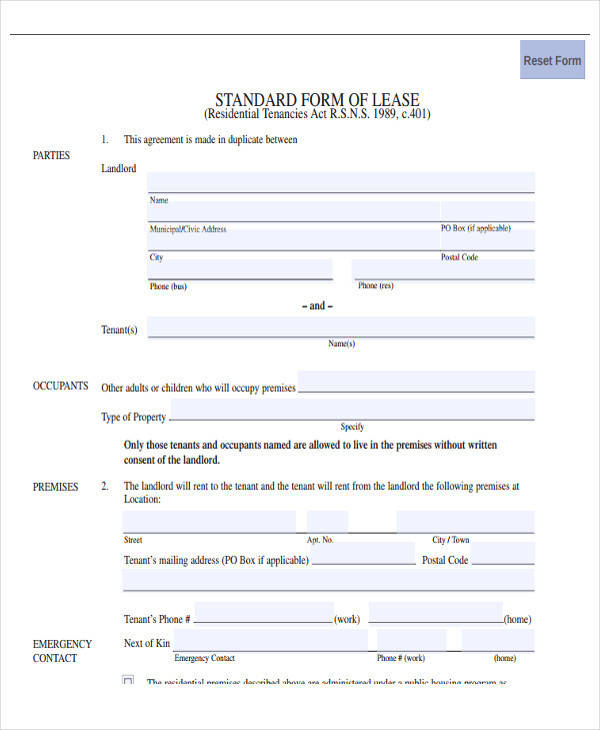 standard lease form example1