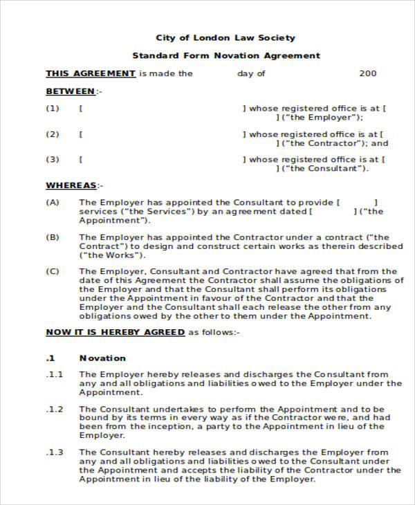 7 Free Sample Novation Agreement Templates to Download - mandegar.info