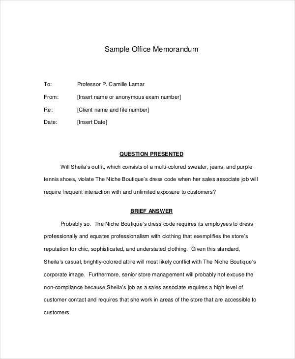 standard office memo template