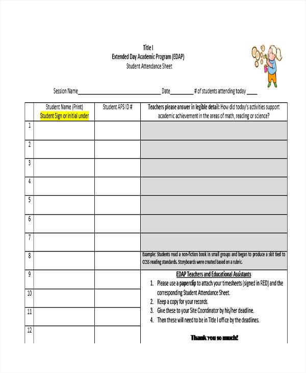 online attendance sheet