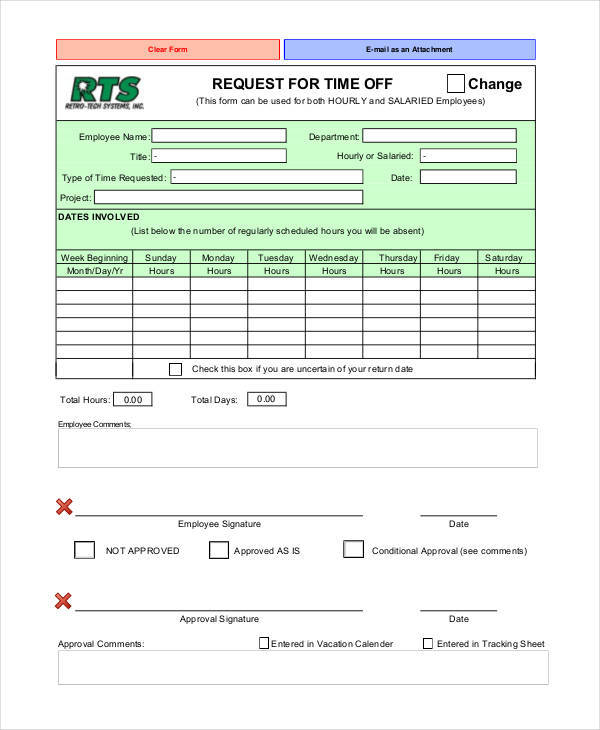 supervisors paid time off request form