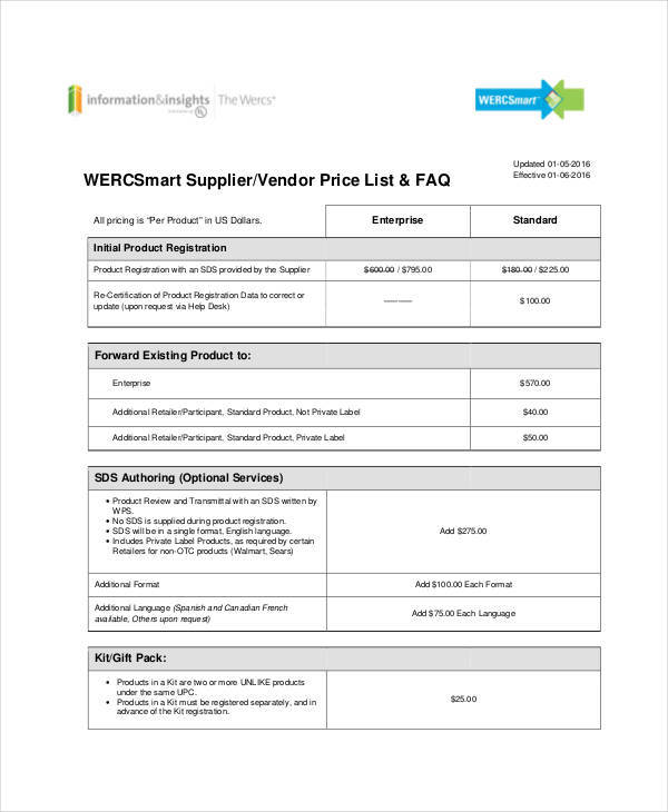 supplier vendor list