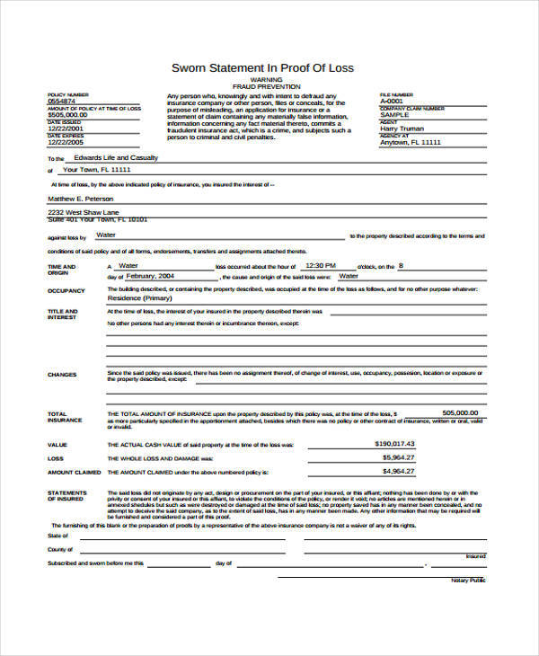 sworn statement template example