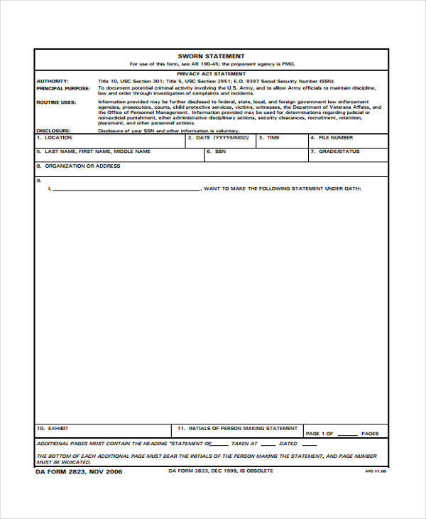 sworn statement template for army