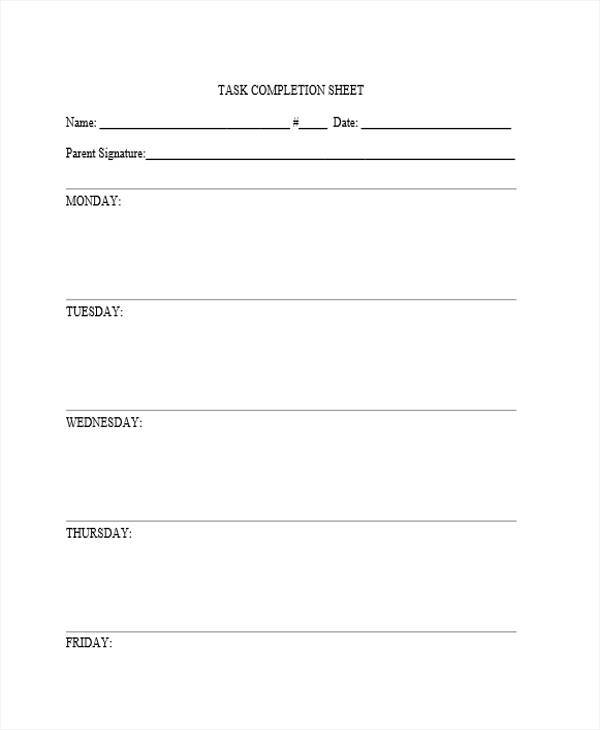 task completion sheet